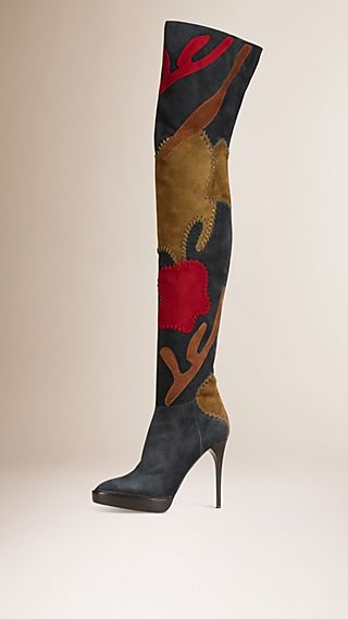Patchwork Suede Over-the-Knee Boots