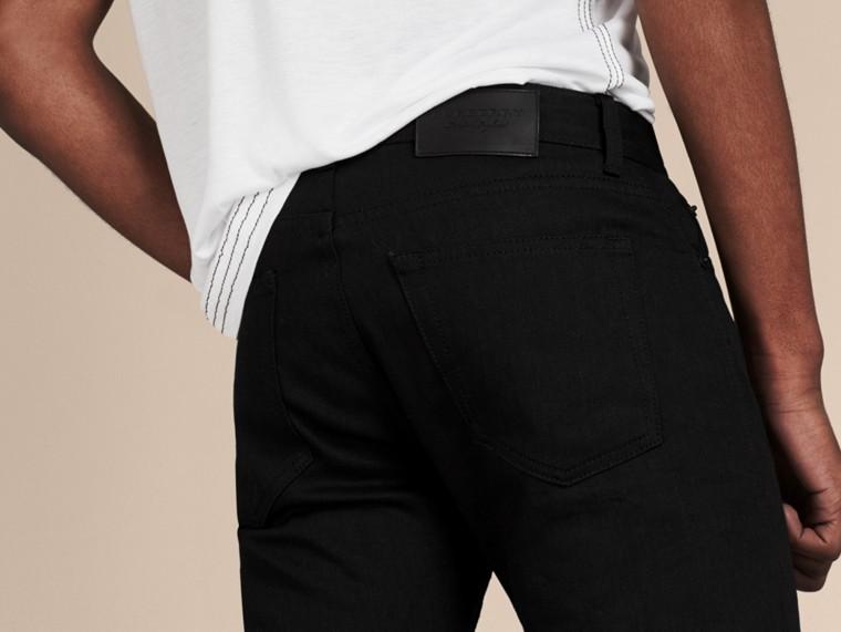 Preto Calças de tecido jeans japonês com corte slim Preto - cell image 1