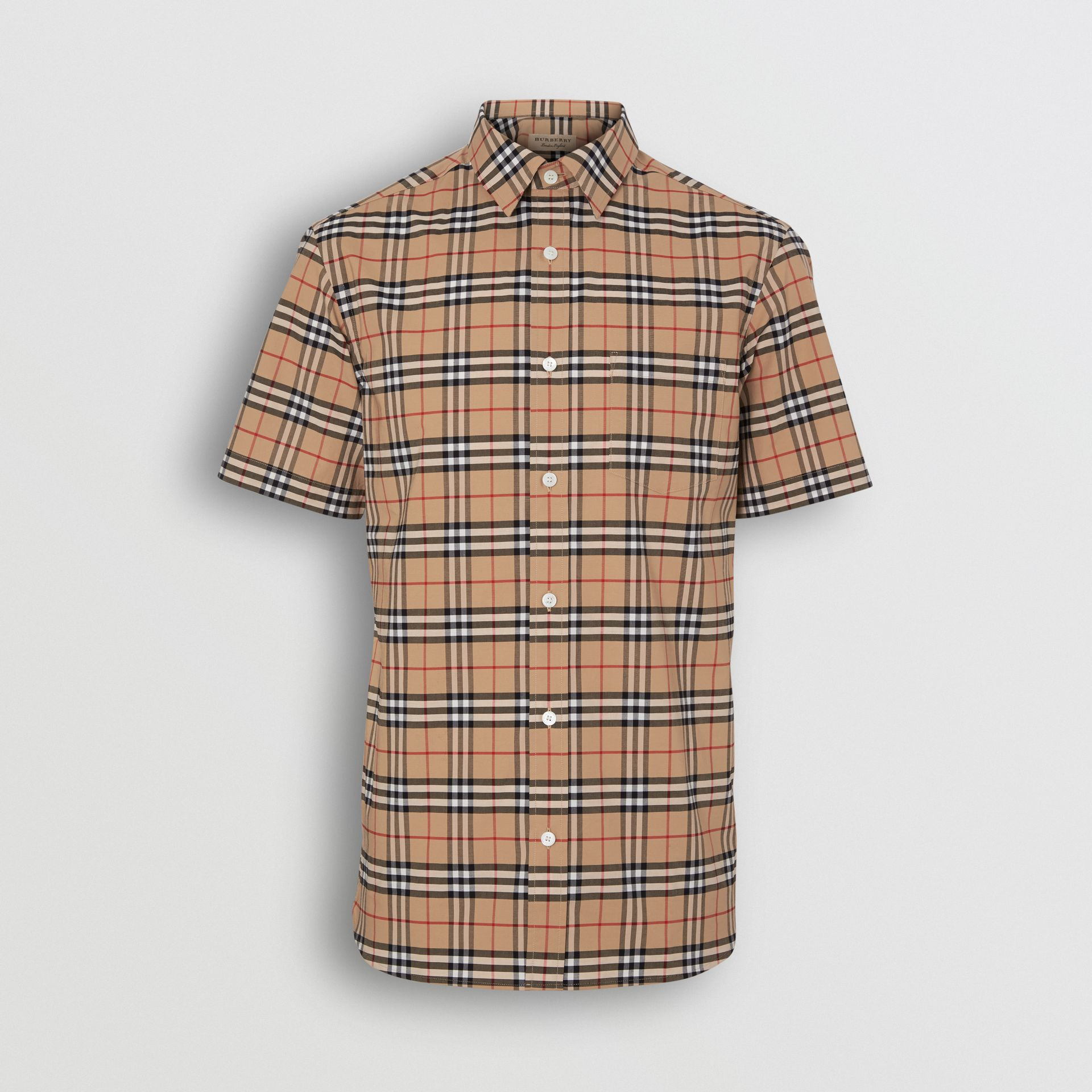 Short-sleeve Check Stretch Cotton Shirt in Camel - Men | Burberry United Kingdom - gallery image 3