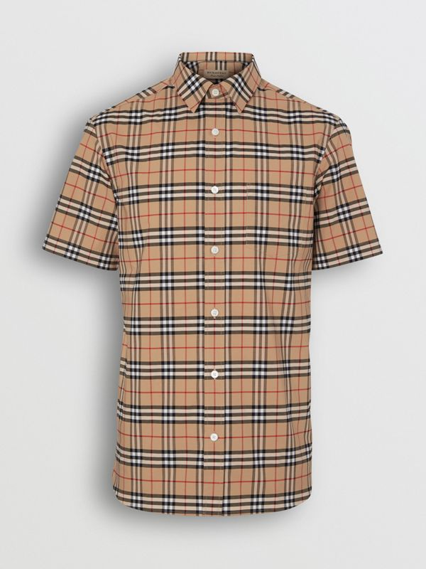 Short-sleeve Check Stretch Cotton Shirt in Camel - Men | Burberry Hong Kong - cell image 3