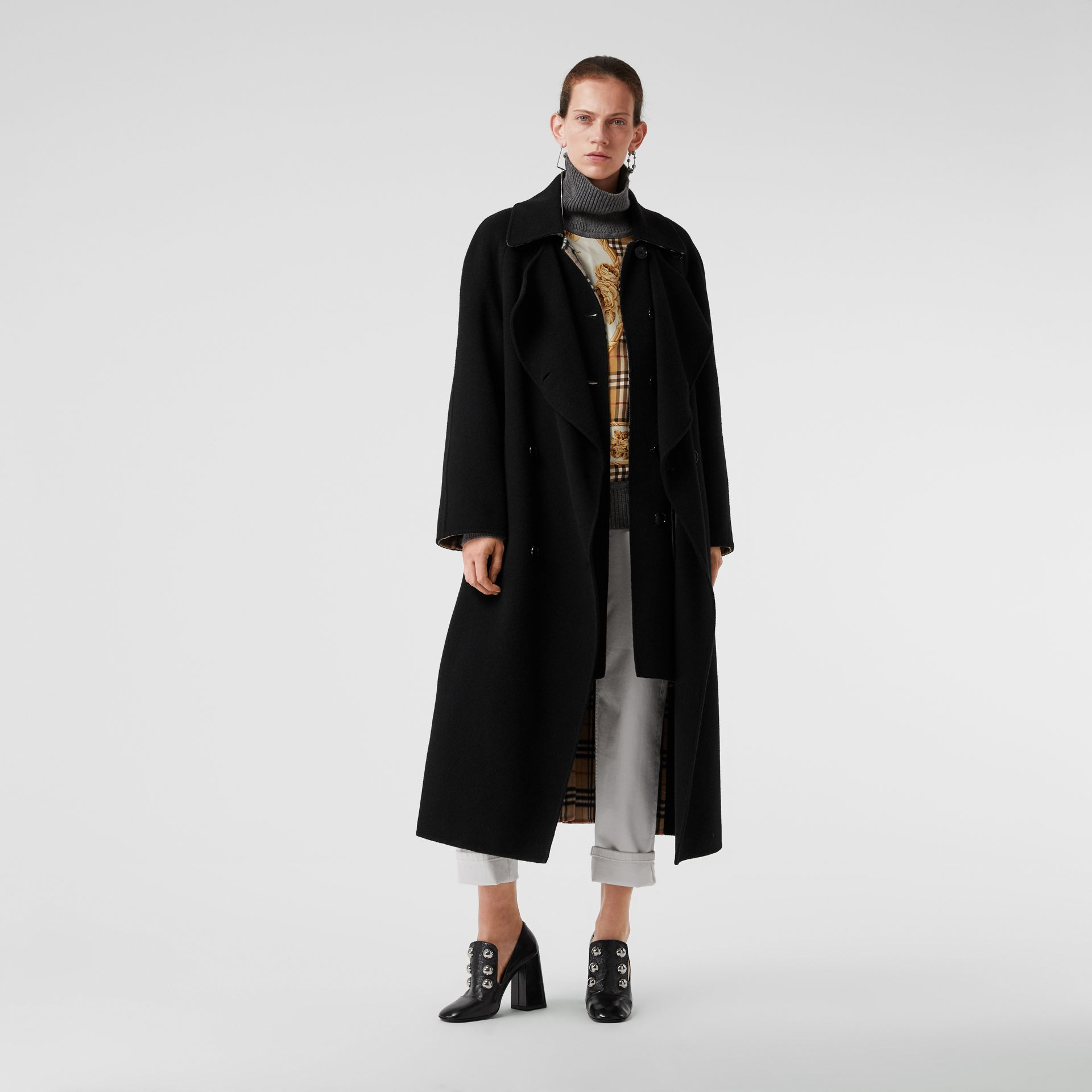 Double-Front Cashmere Car Coat in Black - Women | Burberry United Kingdom - gallery image 0