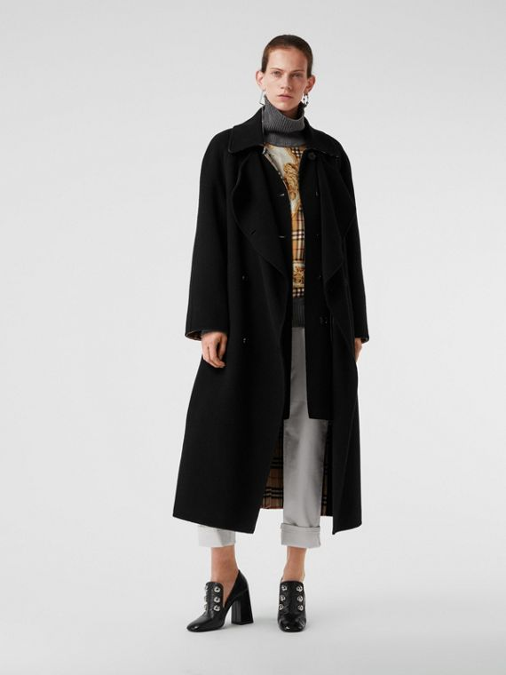 Double-Front Cashmere Car Coat in Black