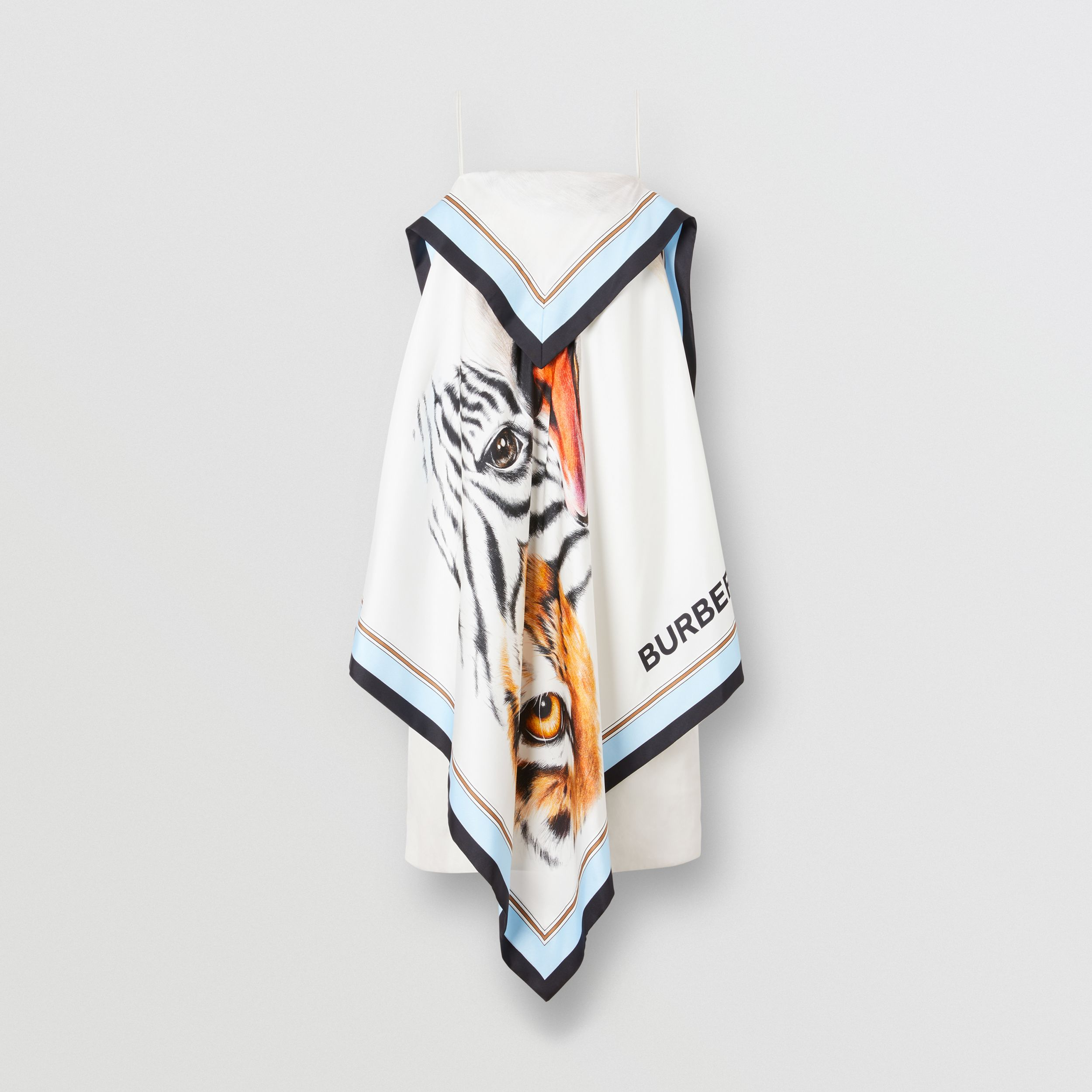 Animalia Print Silk Scarf Dress in Porcelain - Women | Burberry - 4