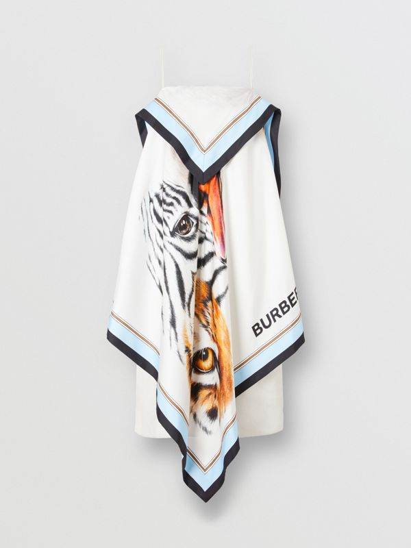 Animalia Print Silk Scarf Dress in Porcelain - Women | Burberry - cell image 3