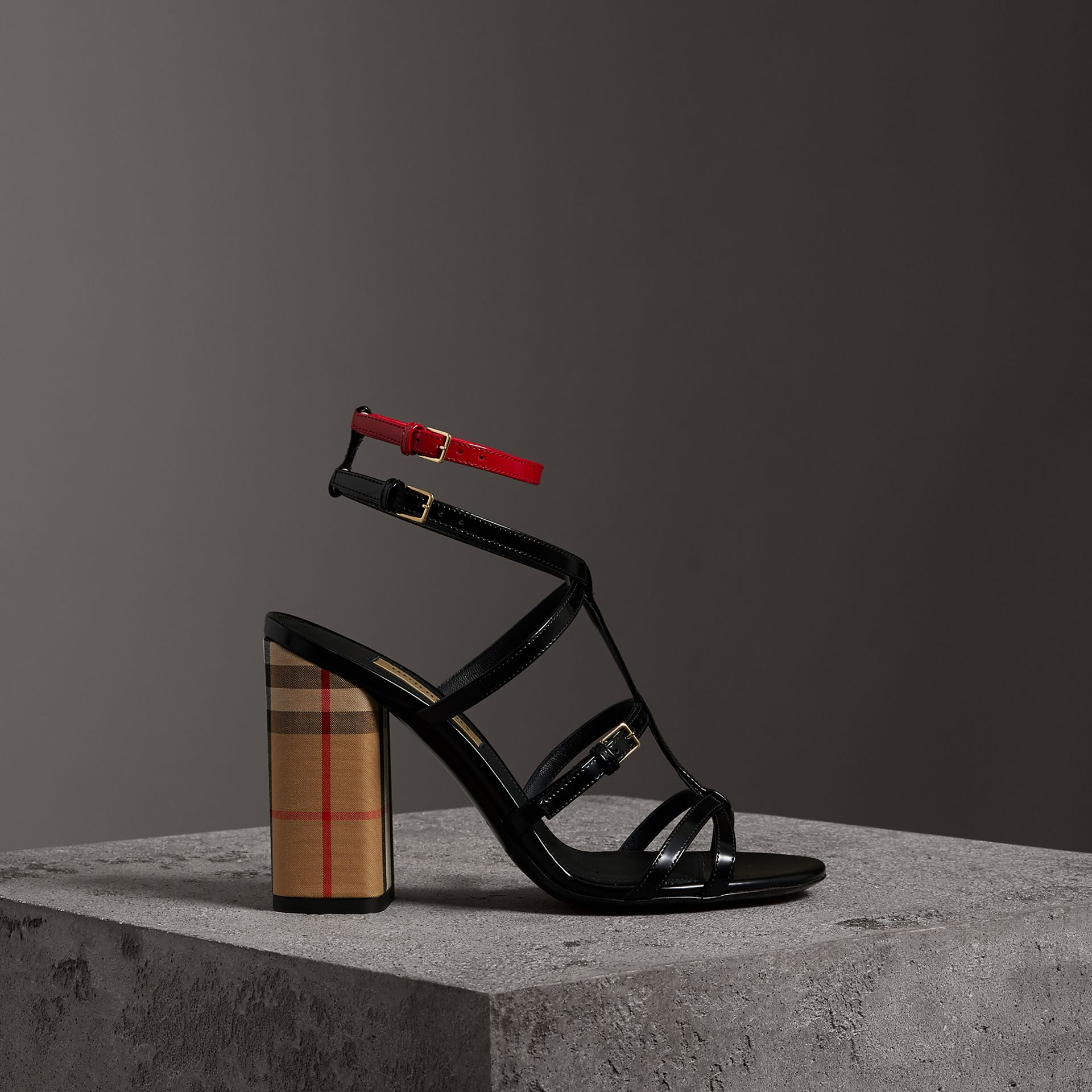 Vintage Check and Patent Leather Sandals in Black - Women | Burberry - gallery image 0