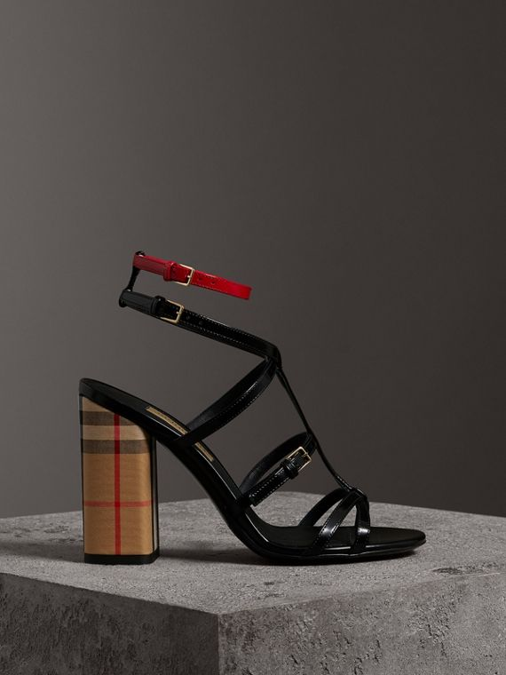 Vintage Check and Patent Leather Block-heel Sandals in Black