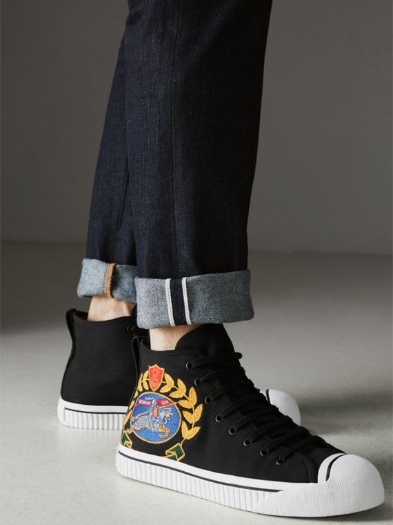 Archive Logo Cotton Gabardine High-top Sneakers in Black - Men | Burberry - cell image 2