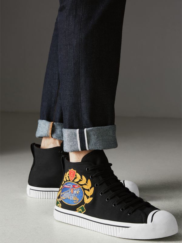 Archive Logo Cotton Gabardine High-top Sneakers in Black | Burberry - cell image 2