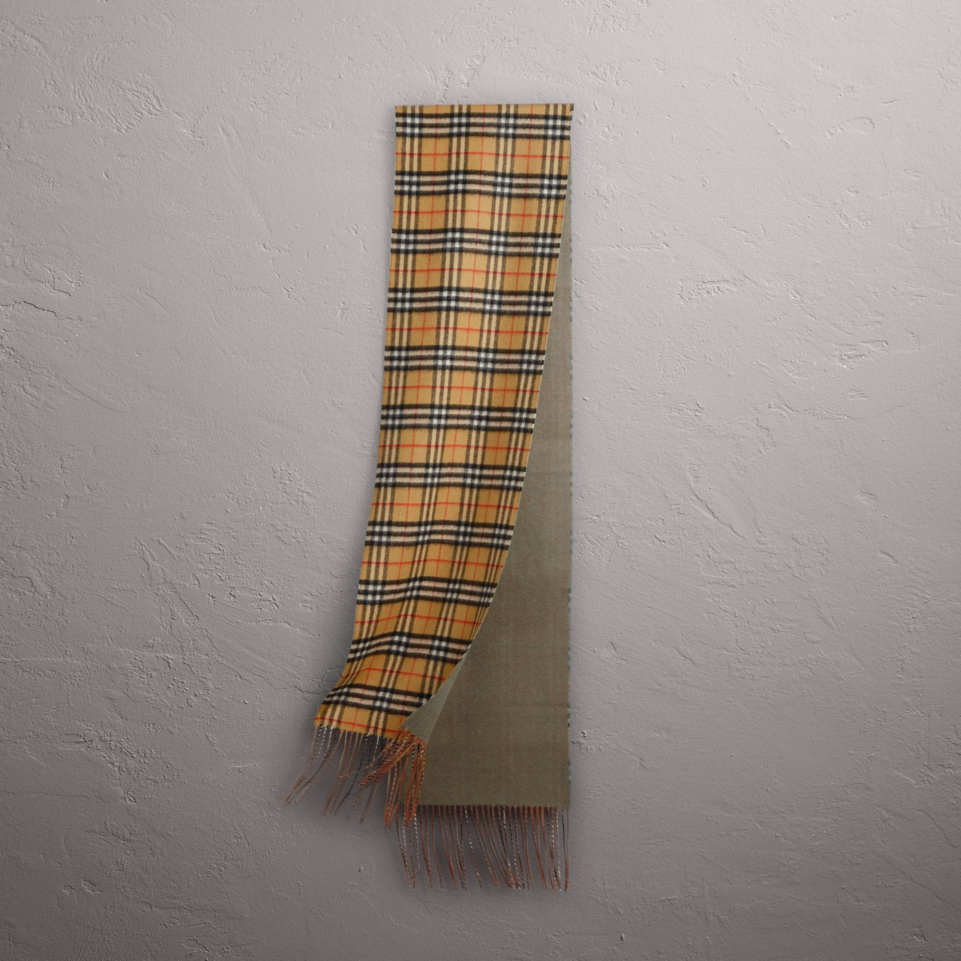 Long Reversible Vintage Check Double-faced Cashmere Scarf in Chalk Green | Burberry Australia - gallery image 0