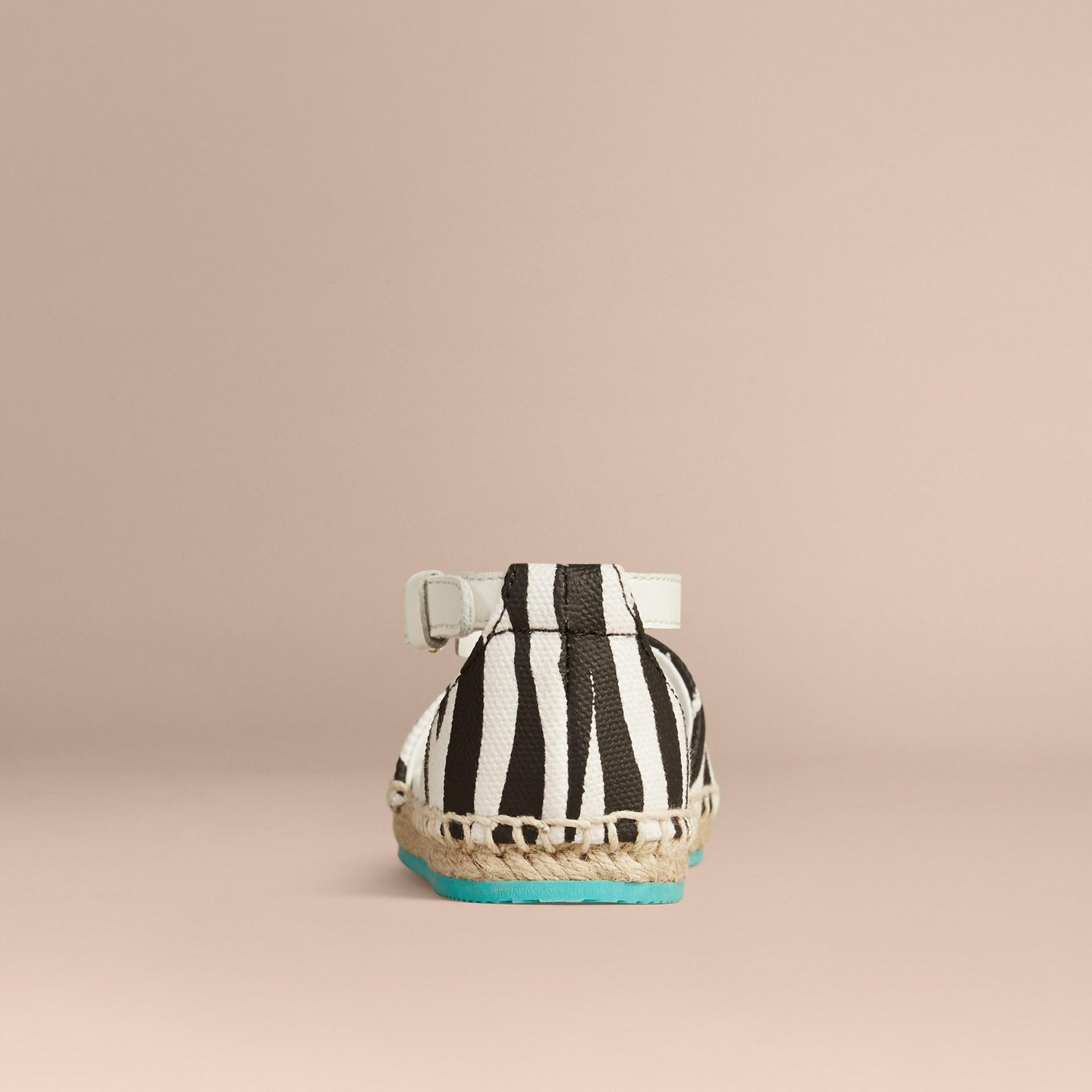Black / white Zebra Print Espadrille Sandals - gallery image 2