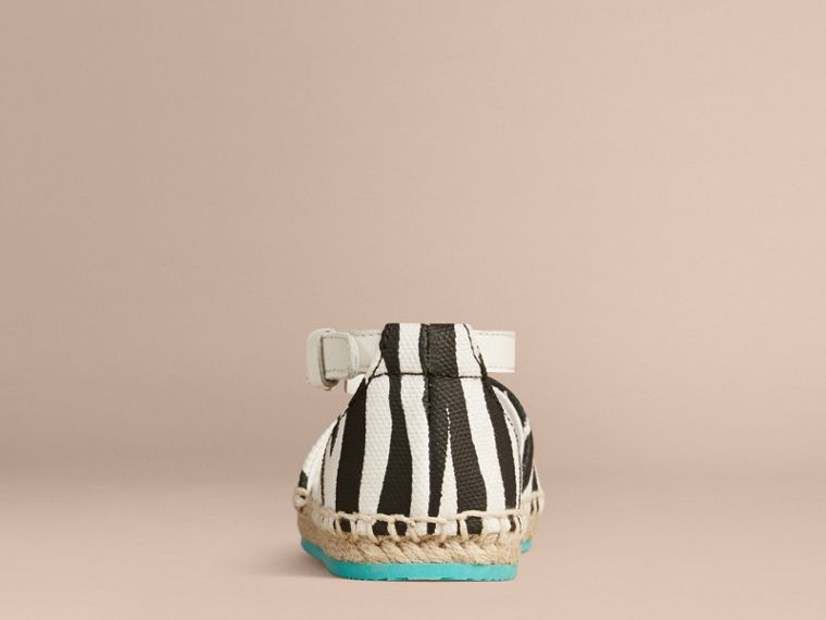Black / white Zebra Print Espadrille Sandals - cell image 1