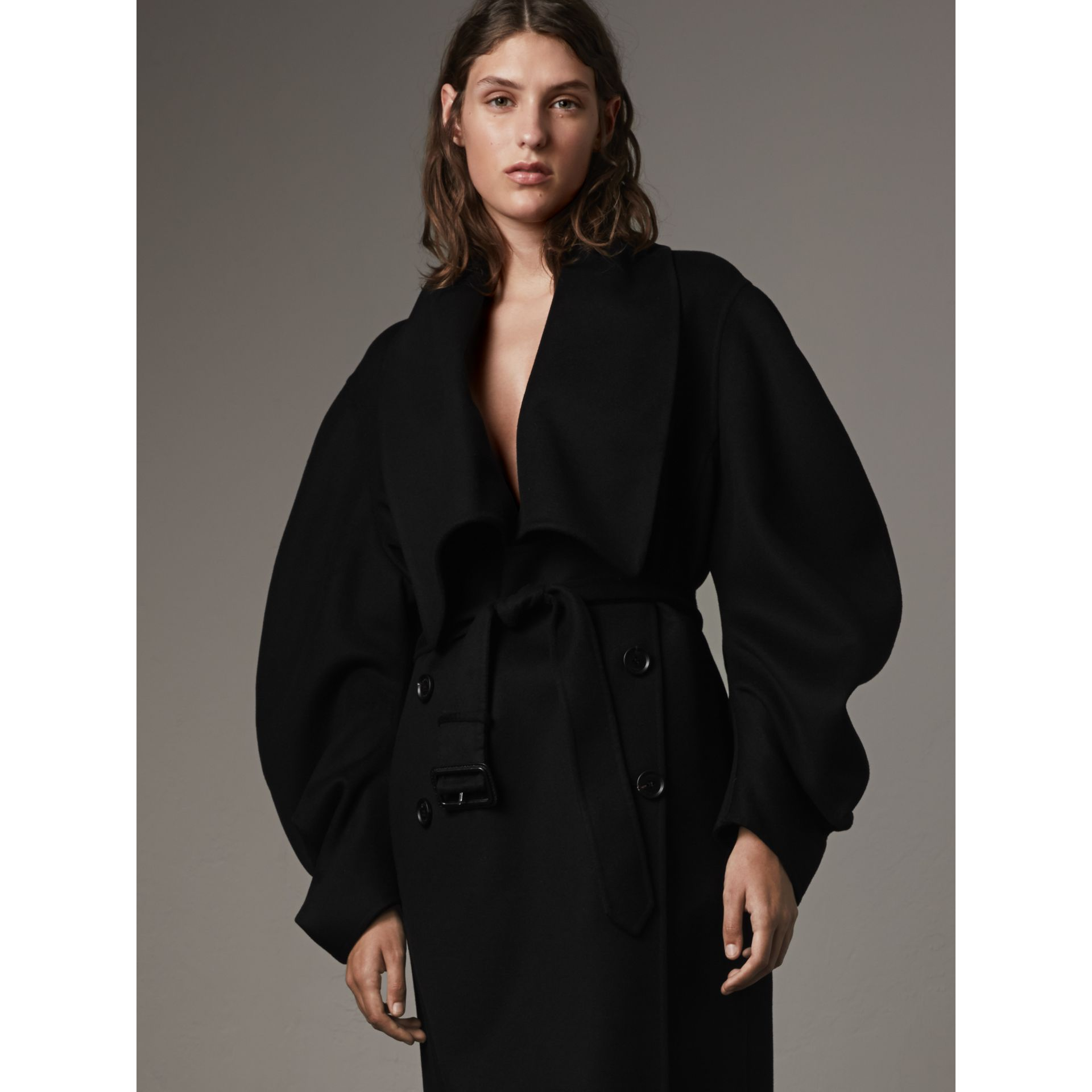 Double-faced Wool Cashmere Sculptural Coat - gallery image 5