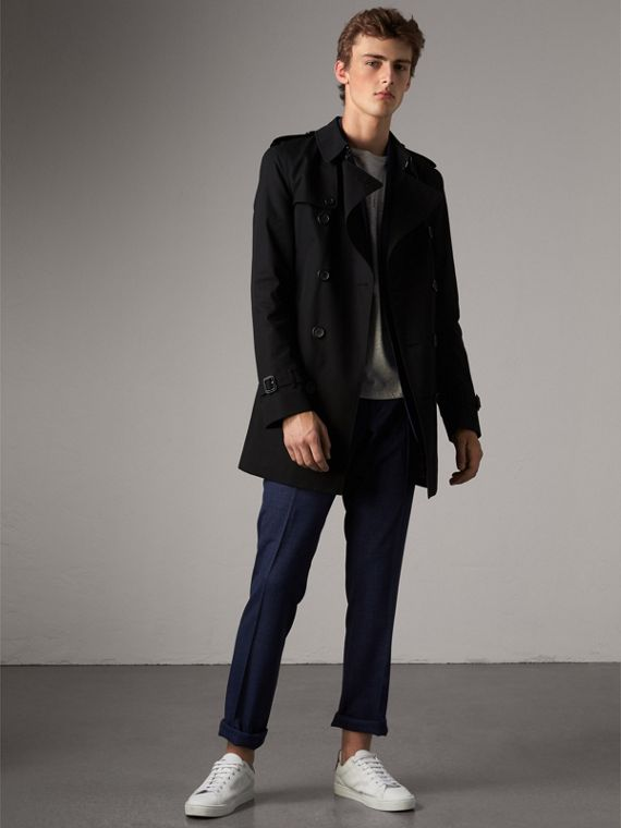 The Kensington – Mid-length Trench Coat in Black
