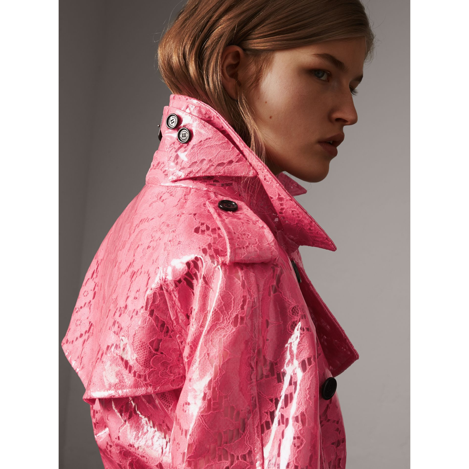 Laminated Lace Trench Coat in Bright Pink - Women | Burberry - gallery image 4