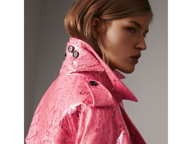 Laminated Lace Trench Coat in Bright Pink - Women | Burberry - cell image 4
