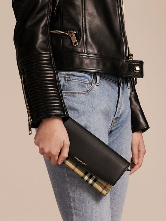 Horseferry Check and Leather Wallet with Chain in Black - Women | Burberry - cell image 3