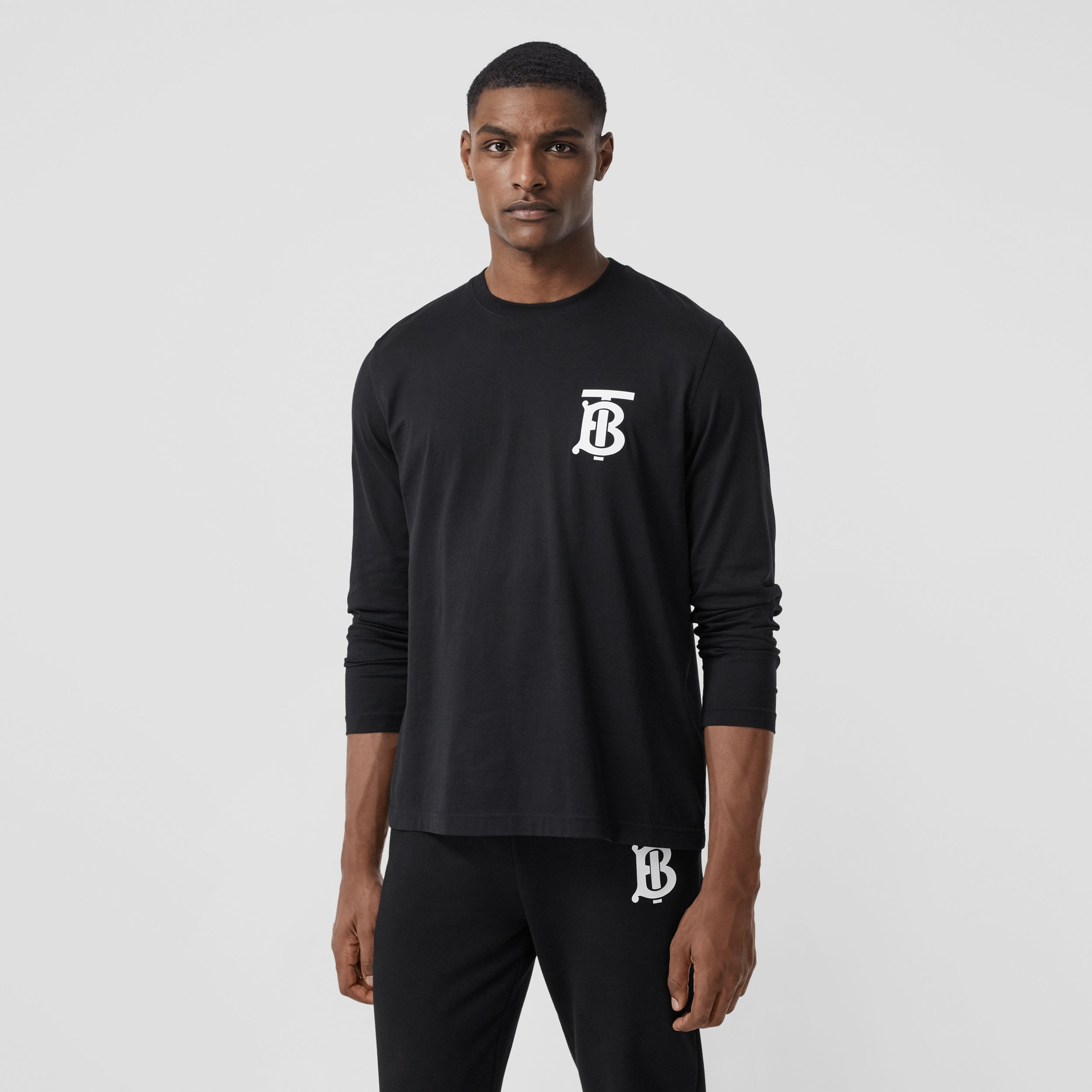 Long-sleeve Monogram Motif Cotton Top in Black - Men | Burberry Hong Kong S.A.R. - 1