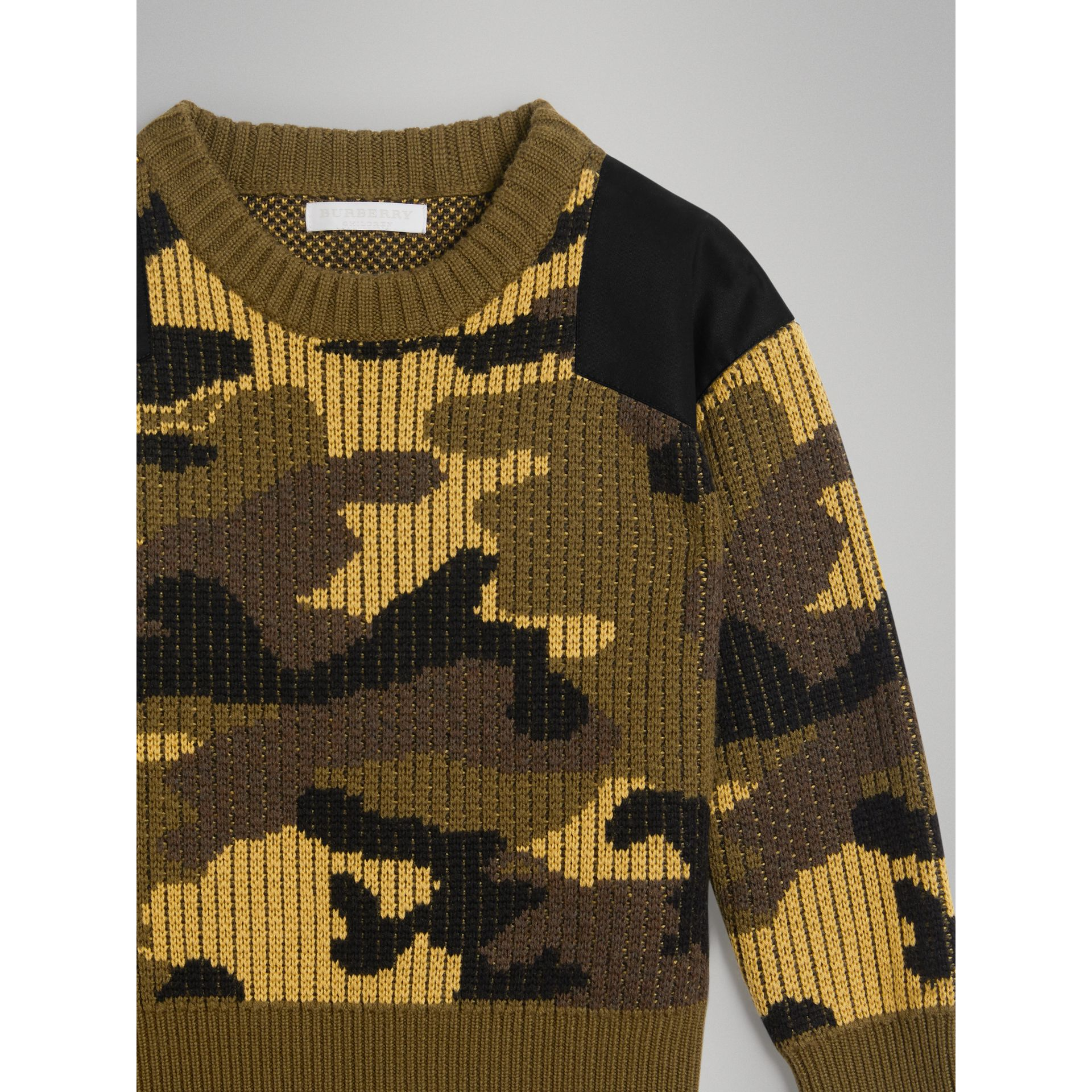 Camouflage Merino Wool Jacquard Sweater in Khaki Green | Burberry - gallery image 4