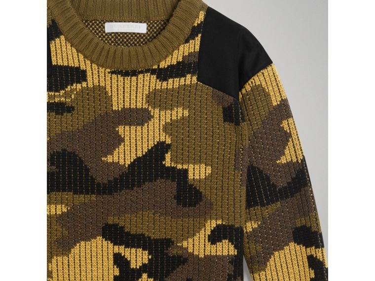 Camouflage Merino Wool Jacquard Sweater in Khaki Green - Boy | Burberry - cell image 4