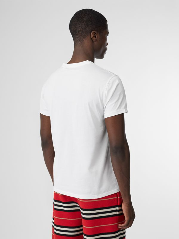 Monogram Motif Cotton V-neck T-shirt in White - Men | Burberry United Kingdom - cell image 2