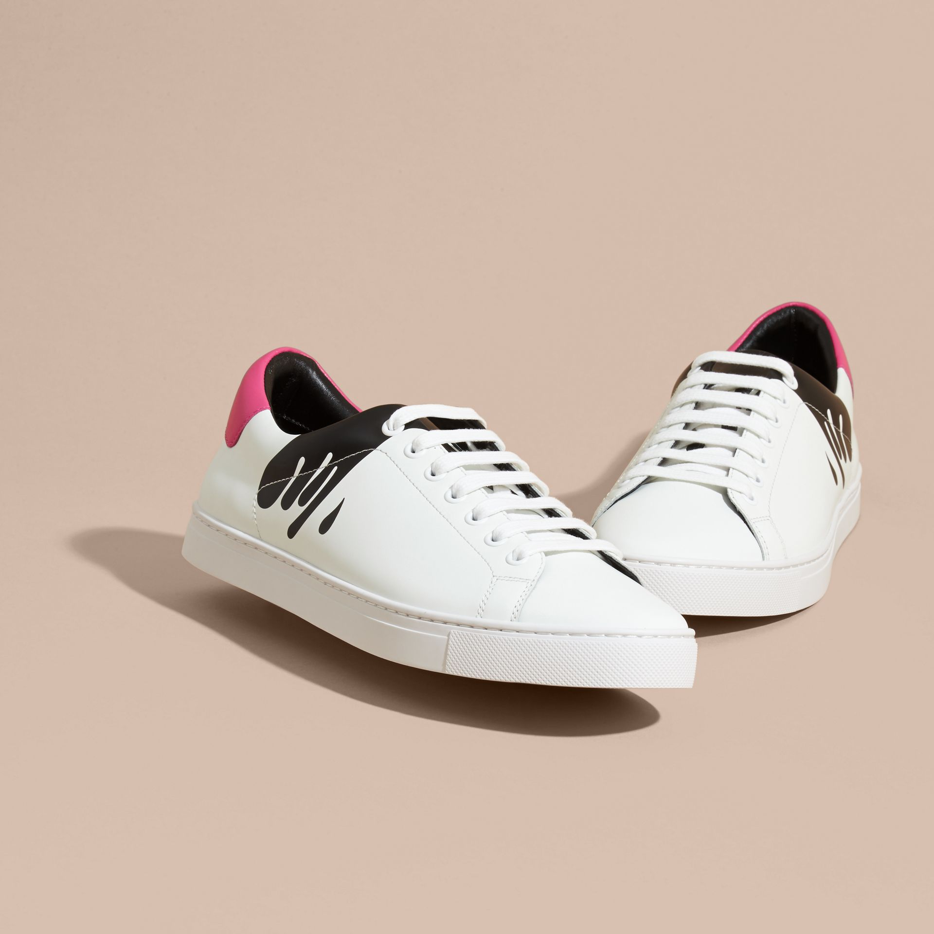 Splash Motif Leather Trainers in Optic White/black - gallery image 3