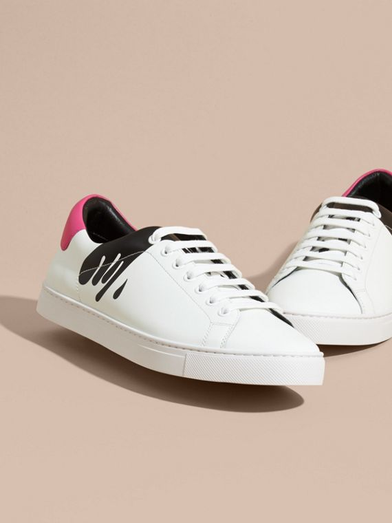 Splash Motif Leather Trainers in Optic White/black - cell image 2