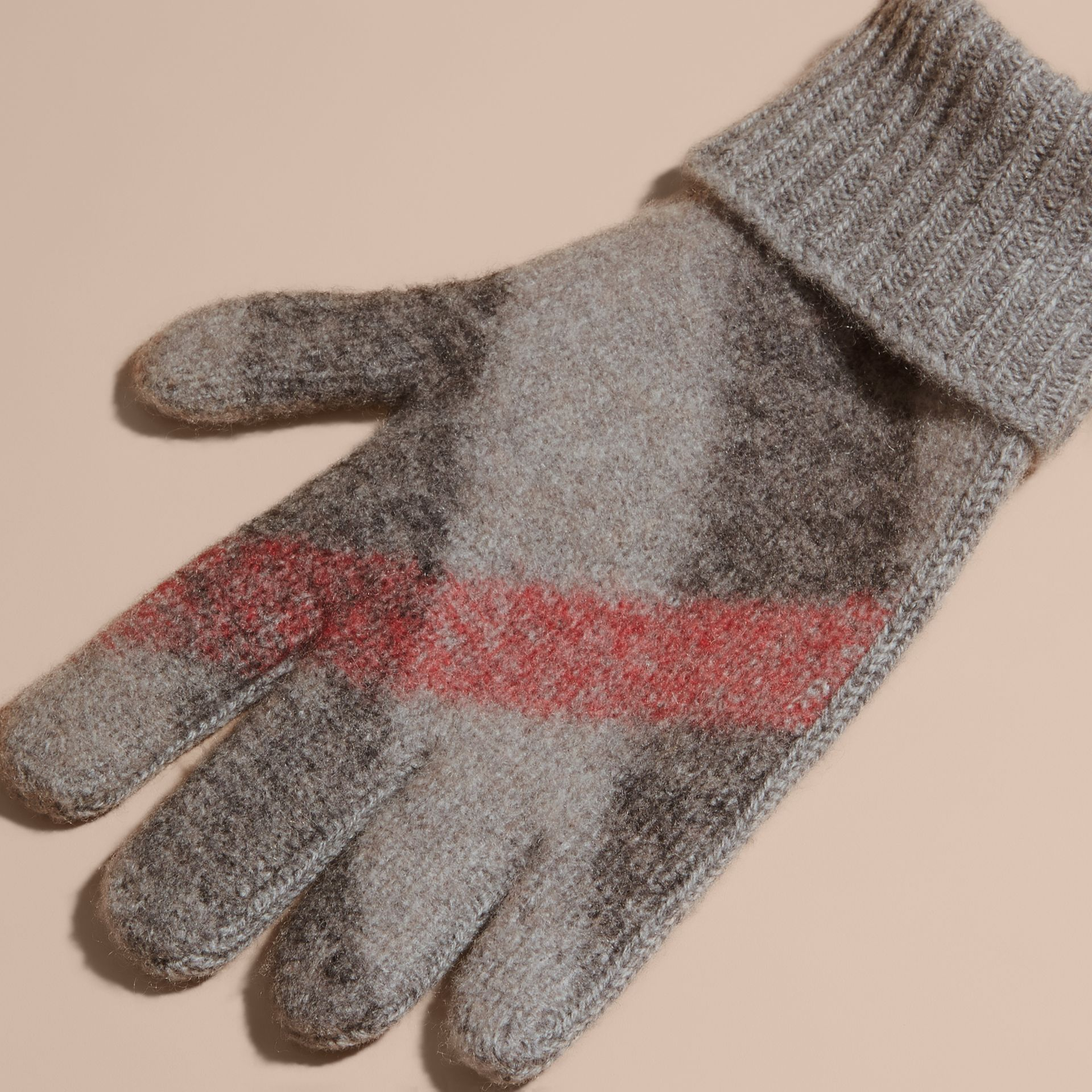 Light grey melange Check Detail Wool Cashmere Gloves - gallery image 2