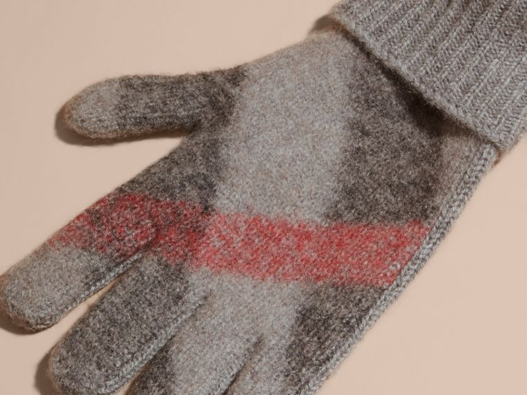 Light grey melange Check Detail Wool Cashmere Gloves - cell image 1