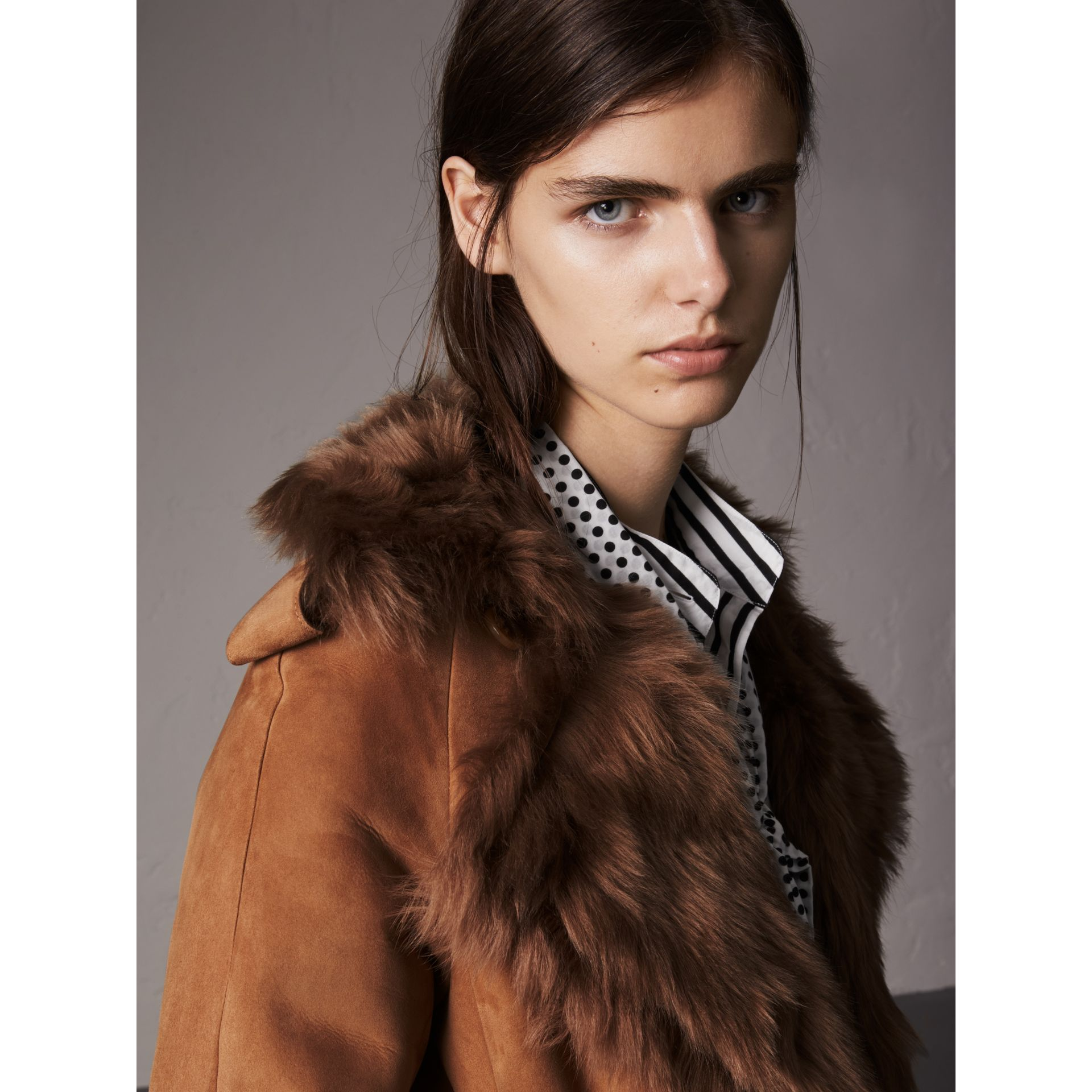 Shearling Long Trench Coat in Dark Camel - Women | Burberry - gallery image 1