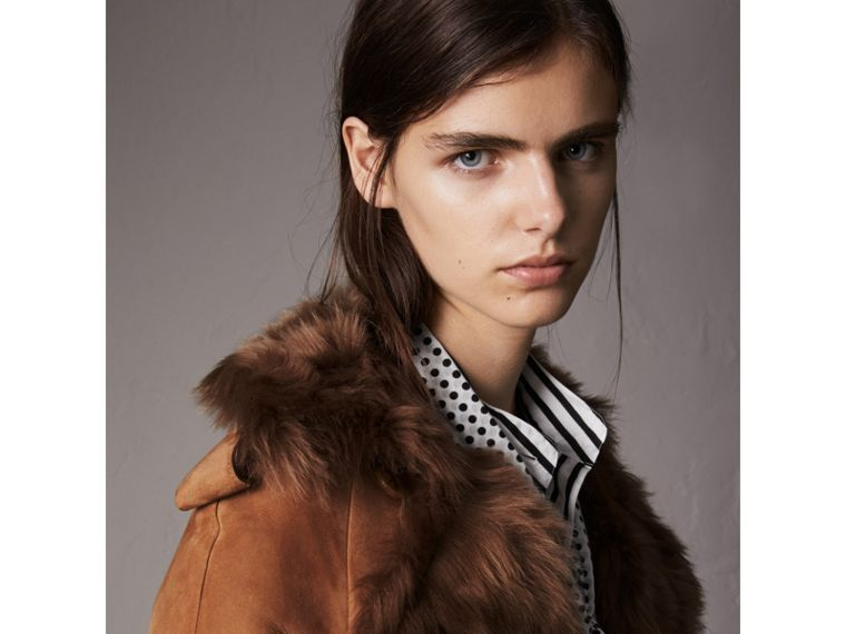 Shearling Extra-long Trench Coat in Dark Camel - Women | Burberry - cell image 1