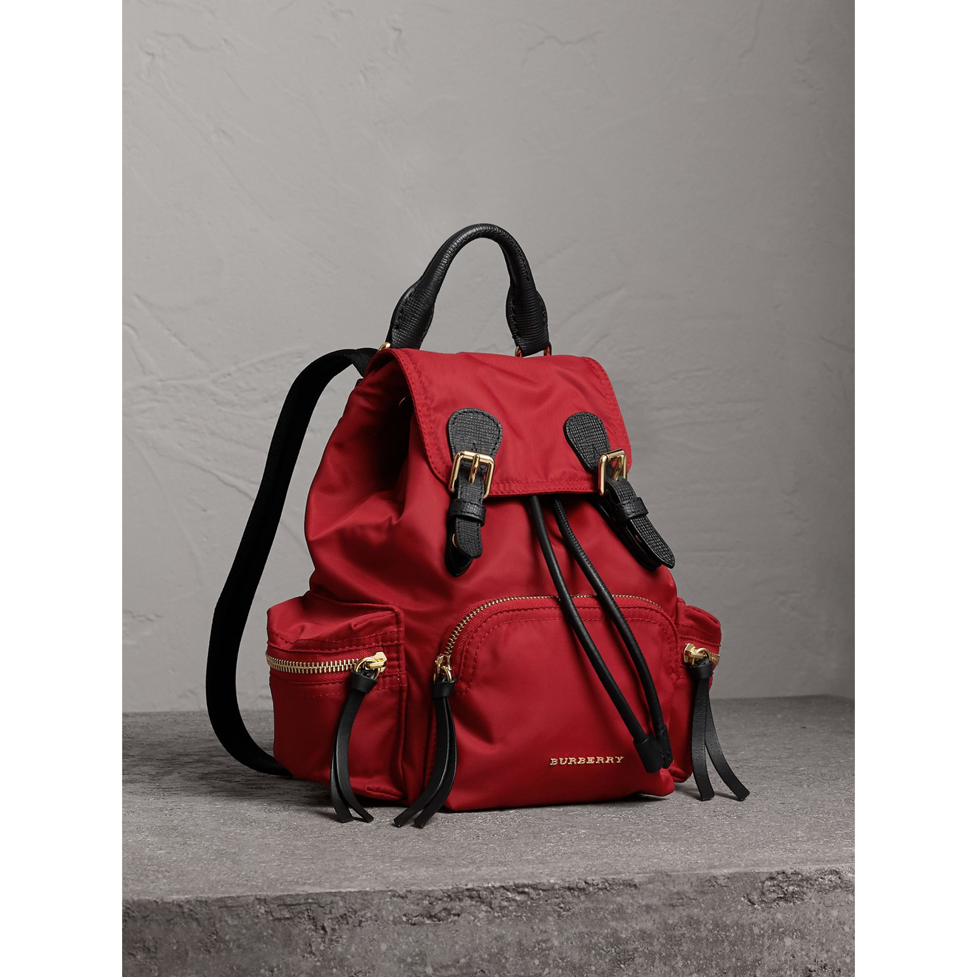 The Small Rucksack in Technical Nylon and Leather in Parade Red - Women | Burberry United States - gallery image 1