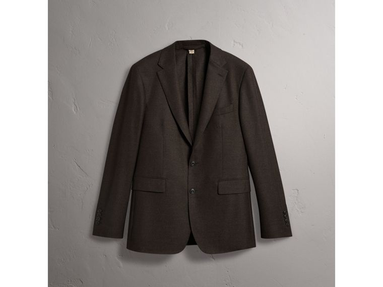 Soho Fit Wool Flannel Suit in Military Green Melange - Men | Burberry Singapore - cell image 4