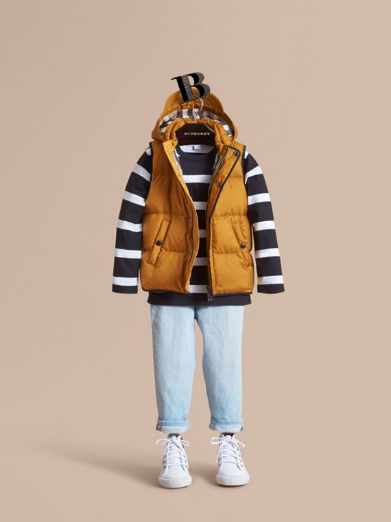 Down-filled Hooded Gilet in Umber Yellow - Boy | Burberry Singapore