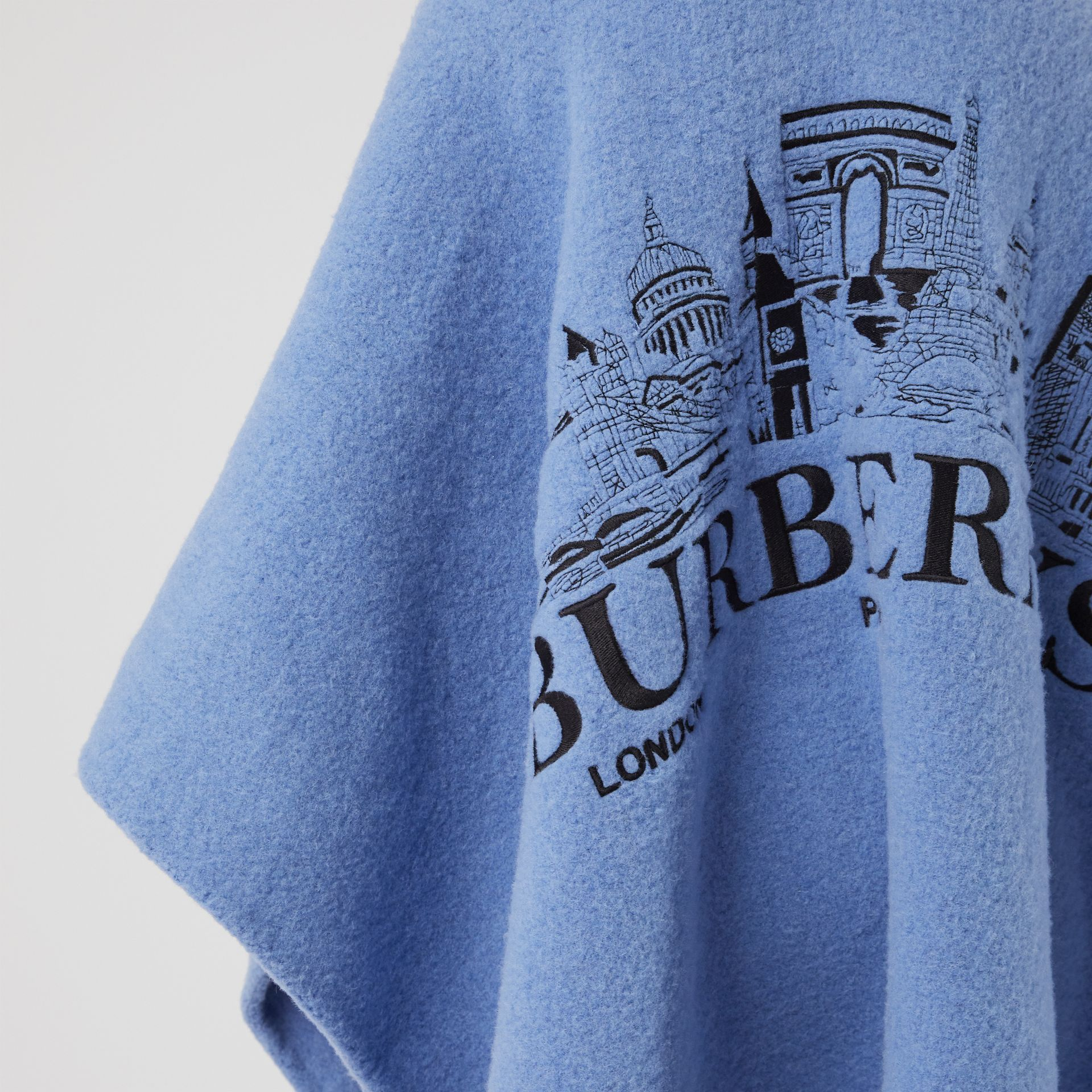 Embroidered Skyline Wool Alpaca Blend Poncho in Hydrangea Blue - Women | Burberry United Kingdom - gallery image 1