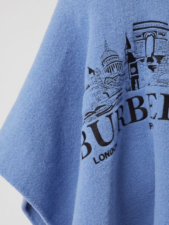 Embroidered Skyline Wool Alpaca Blend Poncho in Hydrangea Blue - Women | Burberry - cell image 1