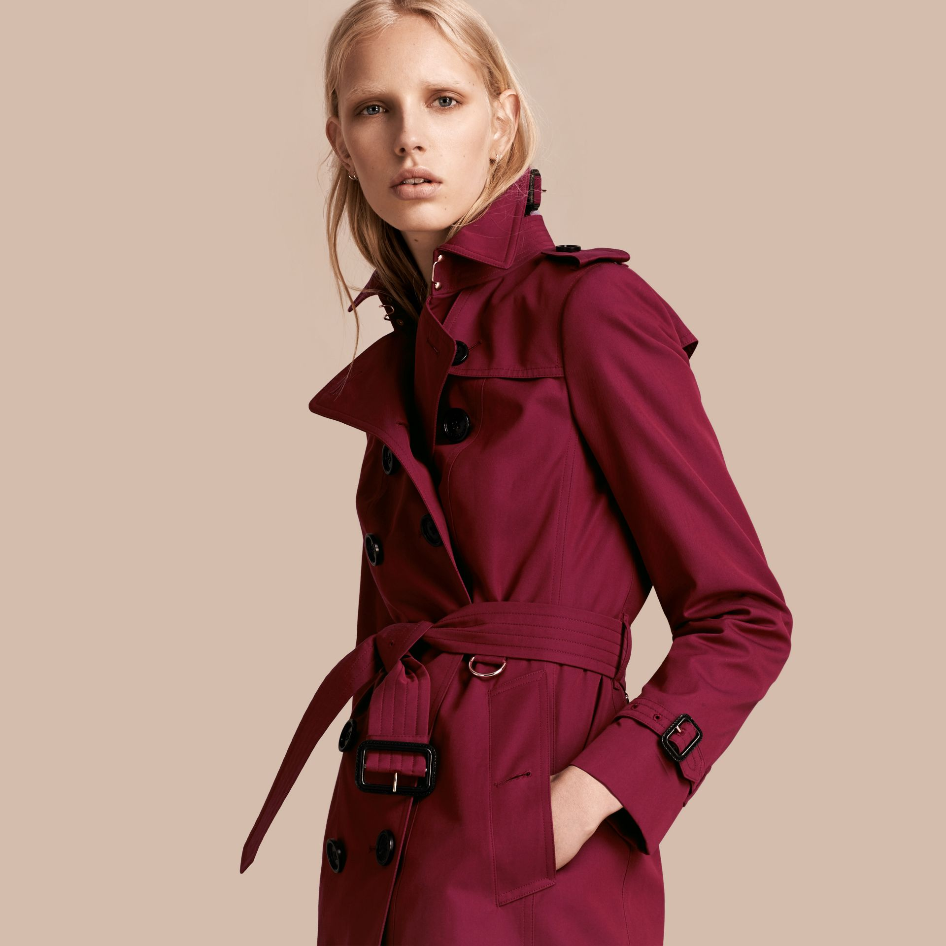 Cotton Gabardine Trench Coat in Damson Pink - gallery image 1