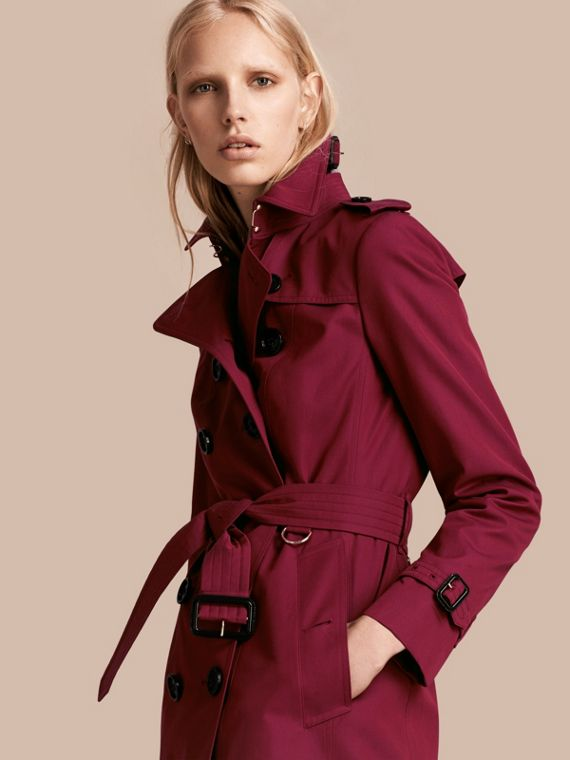 Cotton Gabardine Trench Coat Damson Pink