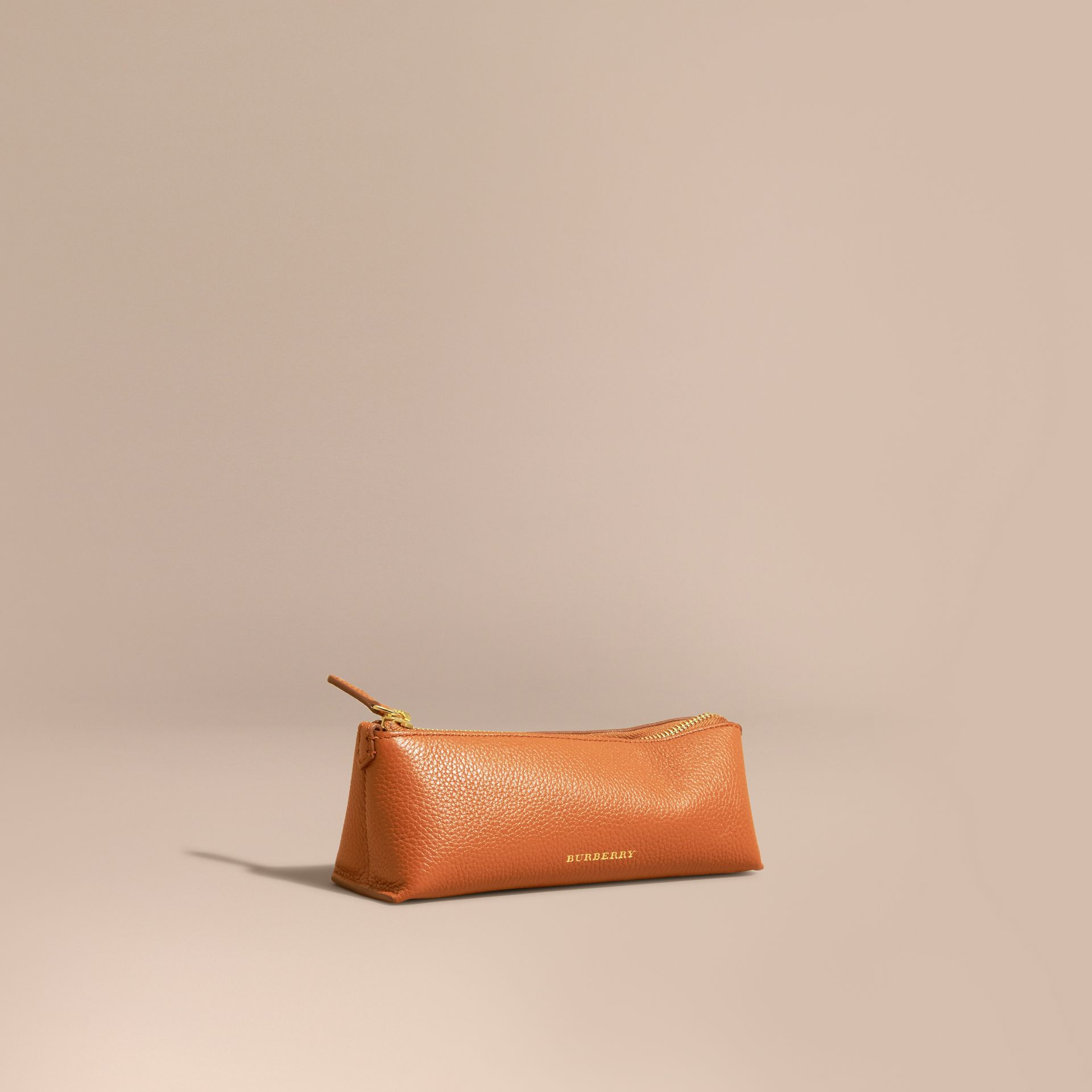 Orange umber Small Grainy Leather Digital Accessory Pouch - gallery image 1