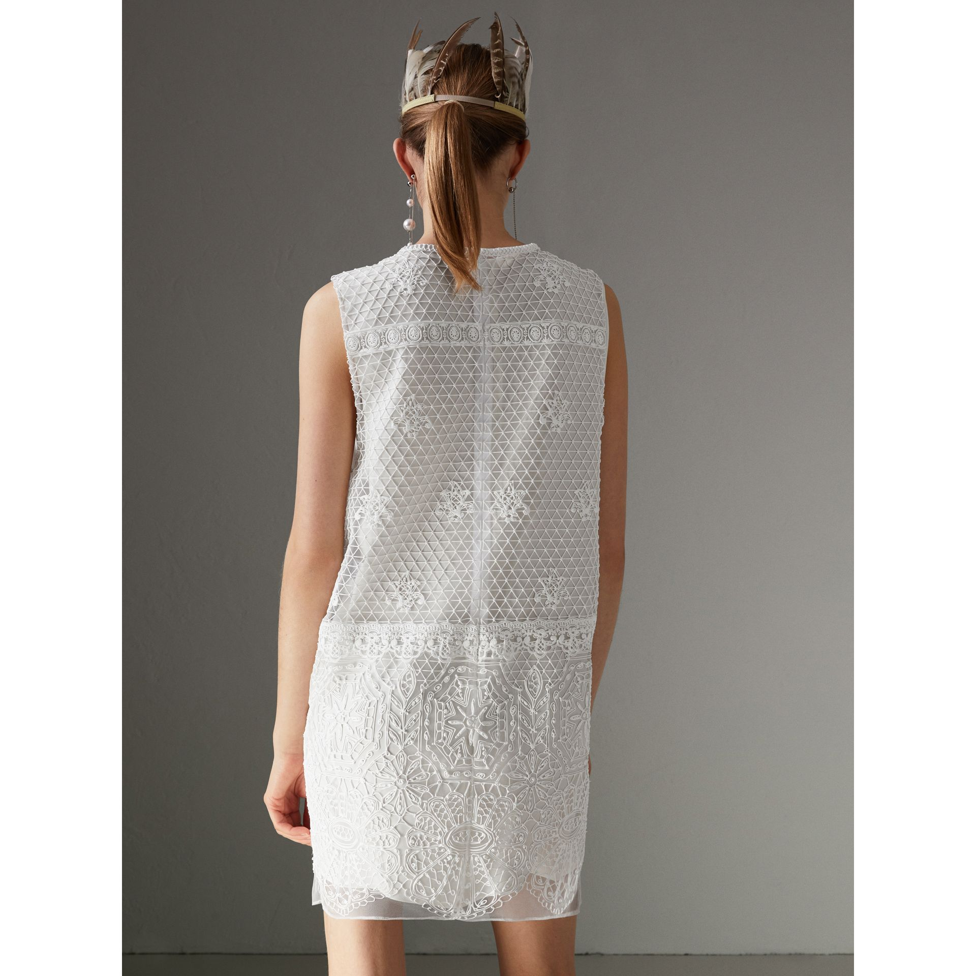 Silicone Lace Mini Dress in White - Women | Burberry - gallery image 2
