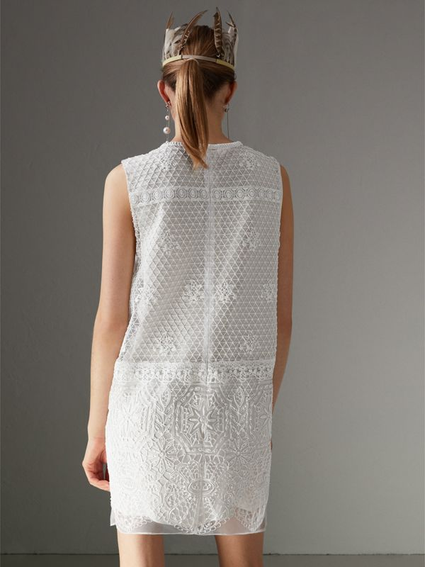 Silicone Lace Mini Dress in White - Women | Burberry Singapore - cell image 2