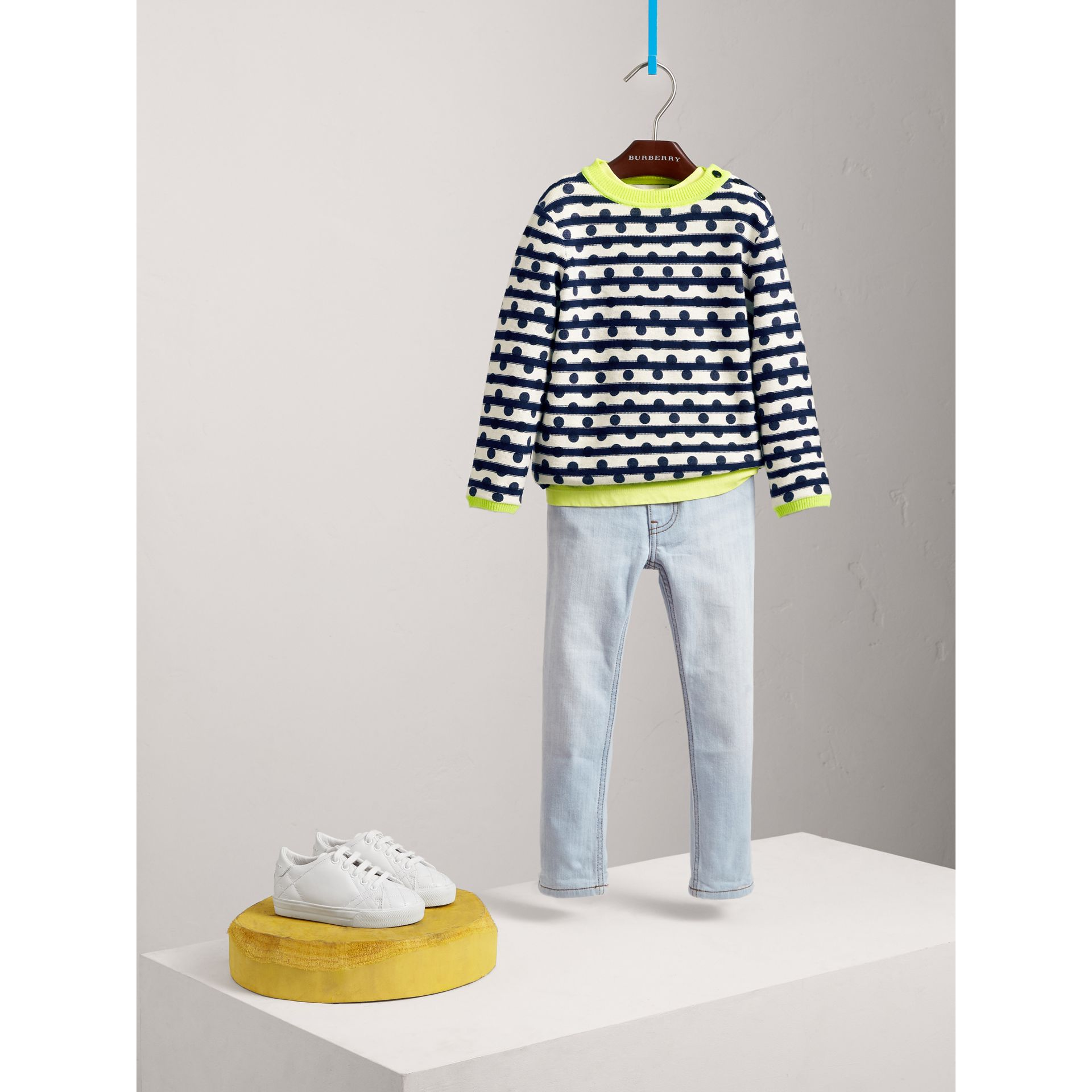 Dot Print Striped Cotton Cashmere Sweater in Navy - Children | Burberry - gallery image 2