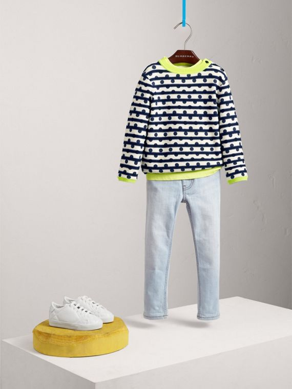 Dot Print Striped Cotton Cashmere Sweater in Navy - Boy | Burberry - cell image 2