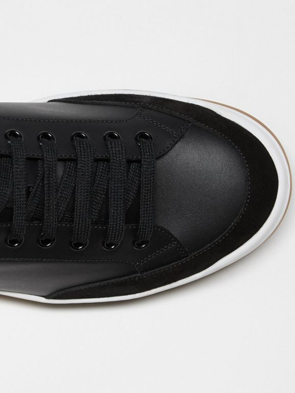 Perforated Logo Leather Tennis Sneakers in Black/optic White - Men | Burberry - cell image 1