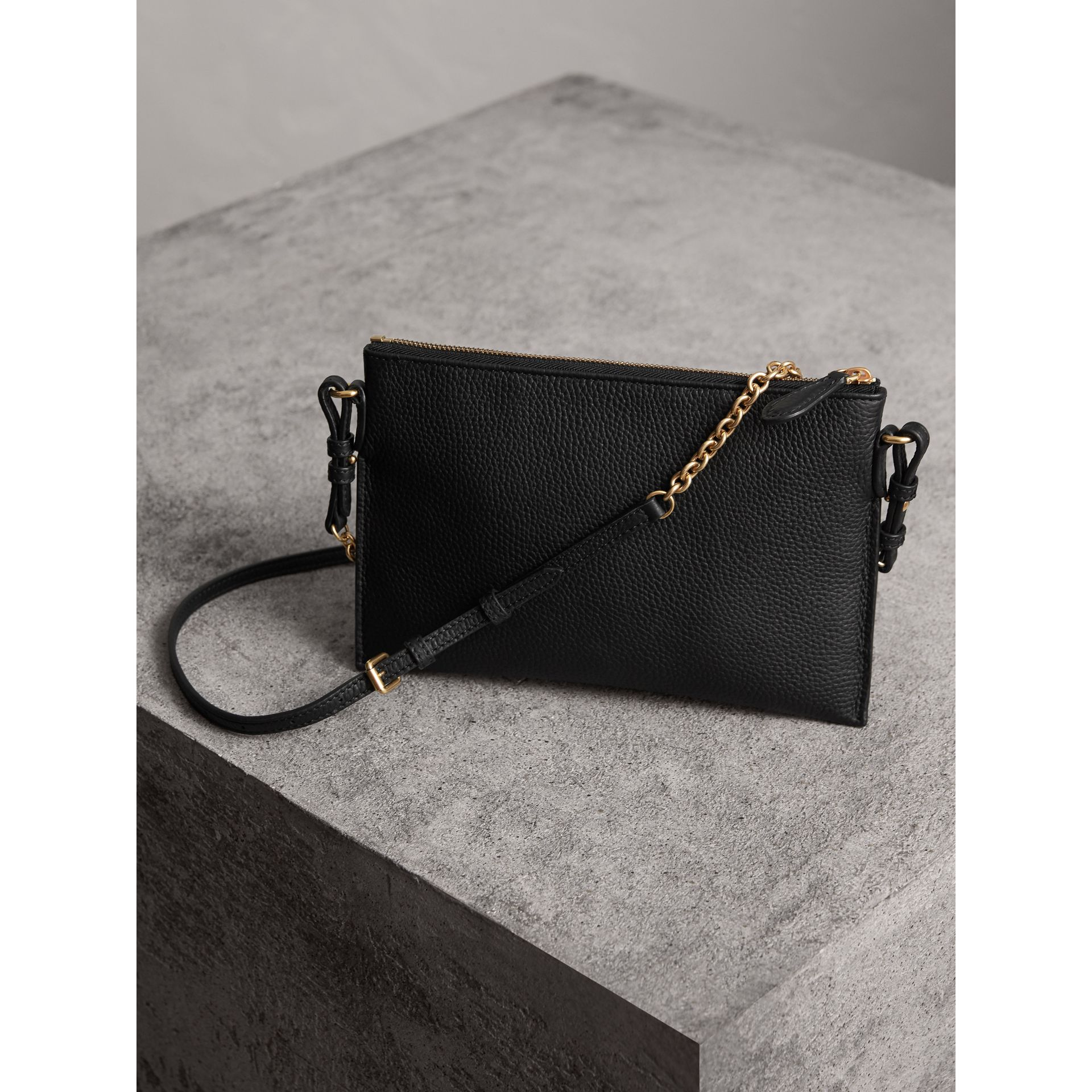 Embossed Leather Clutch Bag in Black - Women | Burberry - gallery image 4
