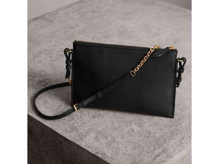 Embossed Leather Clutch Bag in Black - Women | Burberry United Kingdom - cell image 4
