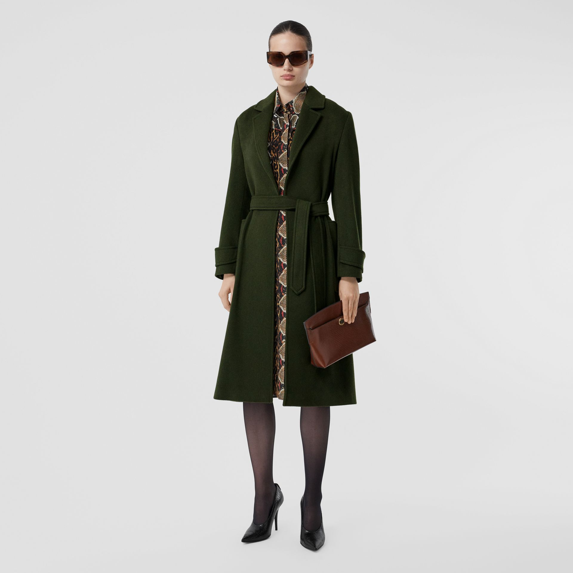 Cashmere Wrap Coat in Forest Green - Women | Burberry - gallery image 0