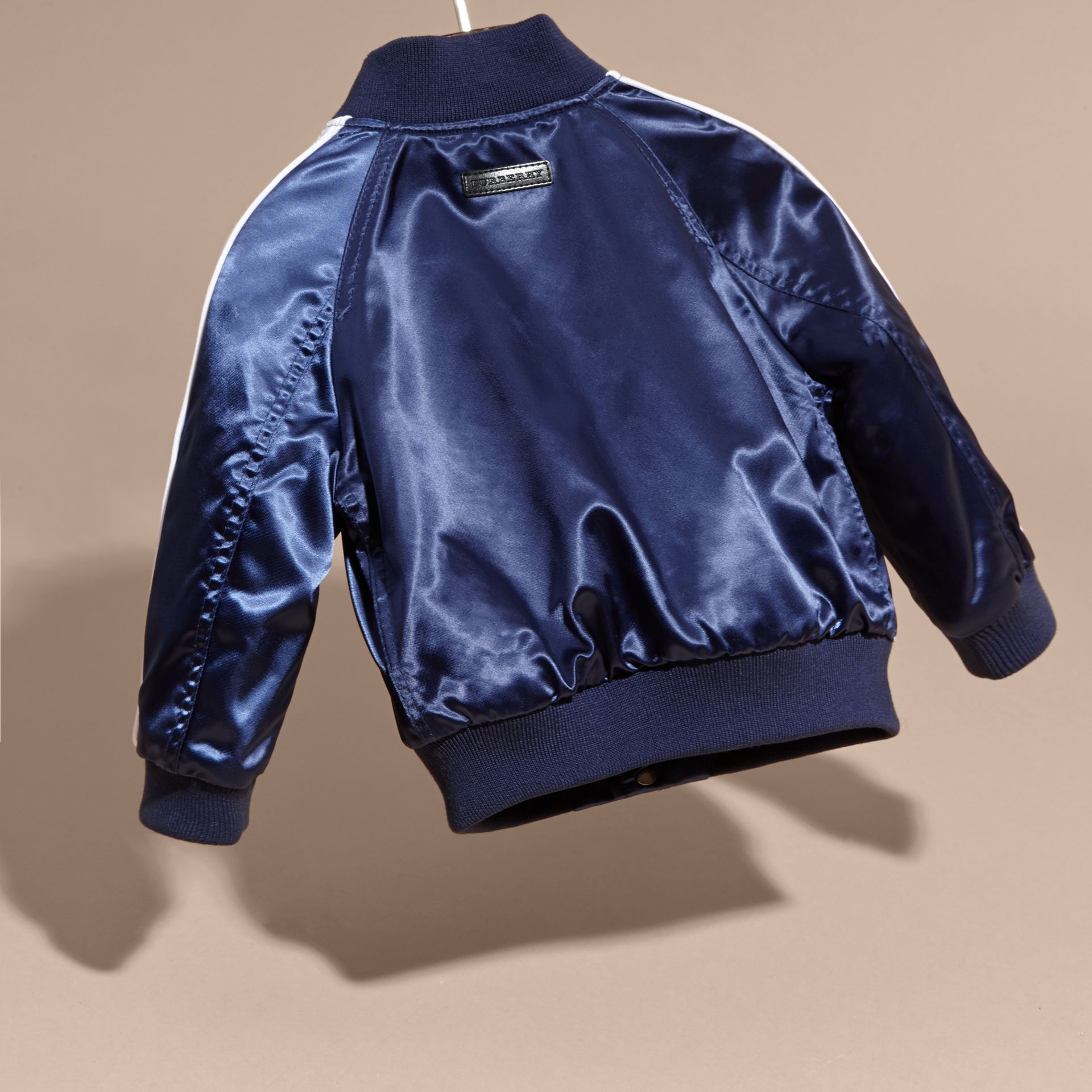 Bright navy Weather Appliqué Satin Bomber Jacket - gallery image 4
