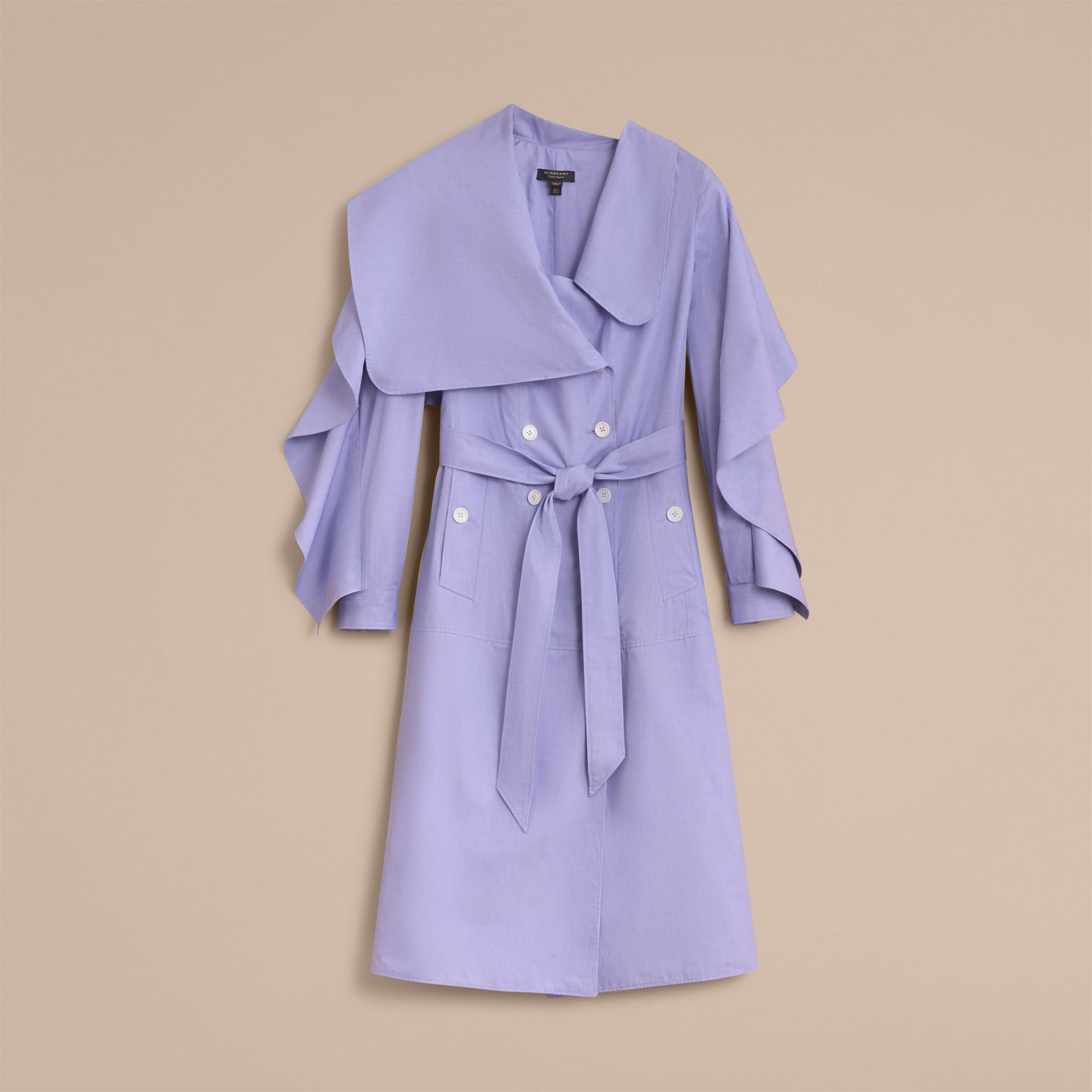 Cotton Chambray Sculptural Wrap Dress - Women | Burberry - gallery image 4