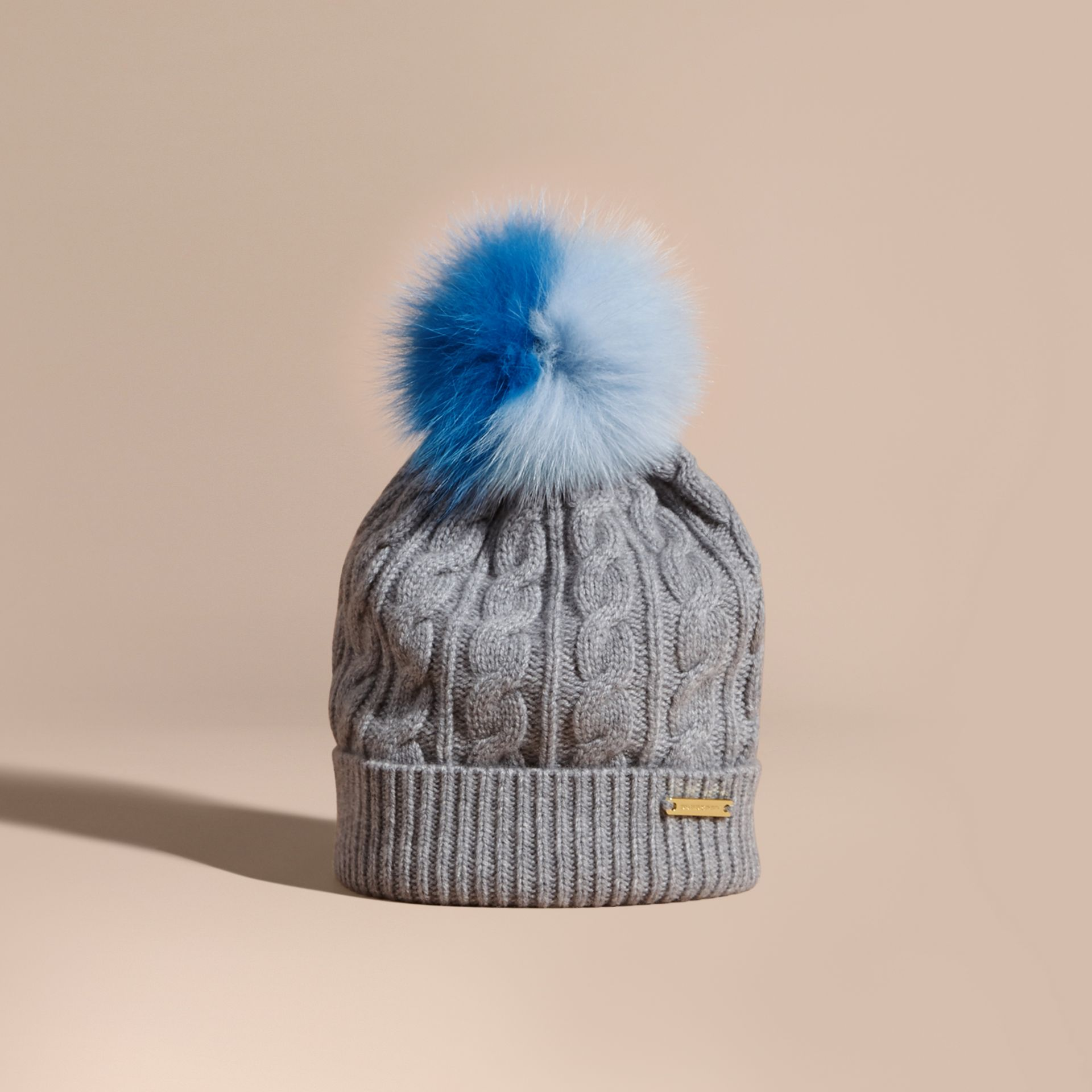 Wool Cashmere Cable Knit Beanie with Two-tone Fur Pom-Pom Grey Melange/cornflower Blue - gallery image 1