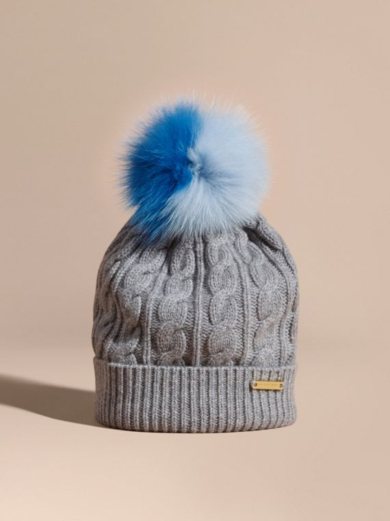 Wool Cashmere Cable Knit Beanie with Two-tone Fur Pom-Pom Grey Melange/cornflower Blue